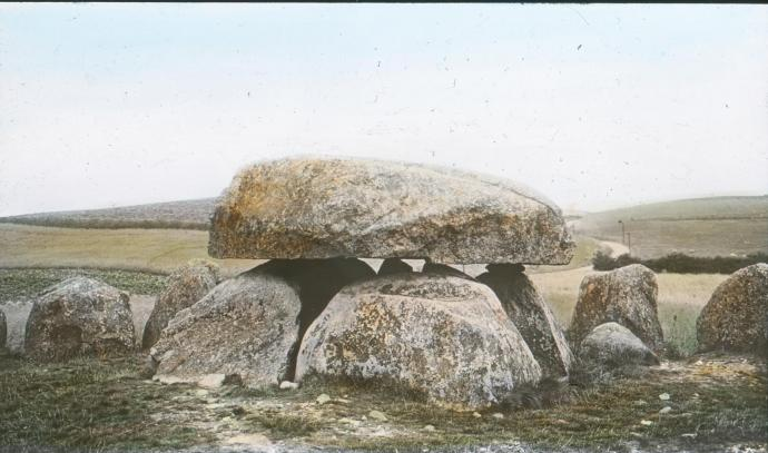 Poskær Stenhus, håndkoloreret fotografi