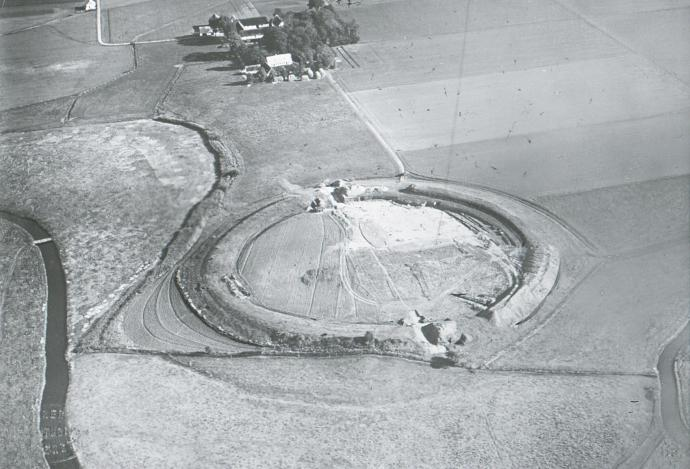 Aeral view of Trelleborg during the excavations 1960