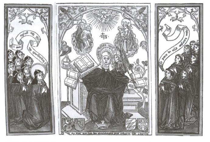 Træsnit fra 1400-tallet med den hellige Birgitta, omgivet af munke og nonner.