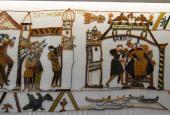 Fra Børglum Kloster Udstilling - Et billede af Bayeuxtapetet.