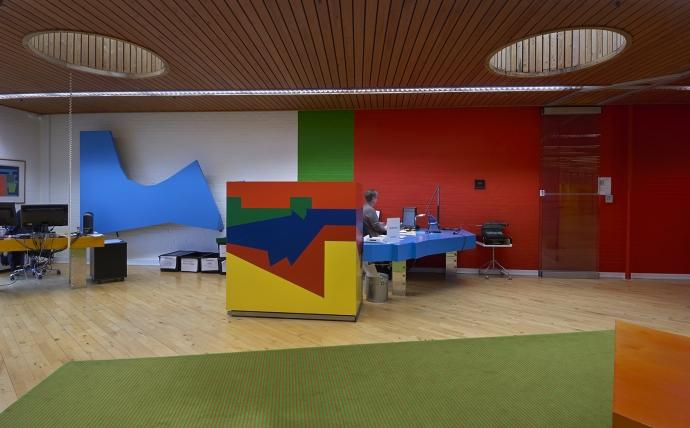Dele af det originale interiør fra Den sorte fabrik kan nu opleves på Teko-uddannelsen i Herning