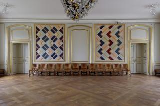 Jette Gemzøes billedtæpper i festsalen på Designmuseum Danmark