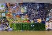 "Erik Hagens' mural ""EsbjergEvangeliet"" at University College Southern Denmark"