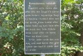 Skiltet ved runestenen med runernes tekst på nutidig dansk