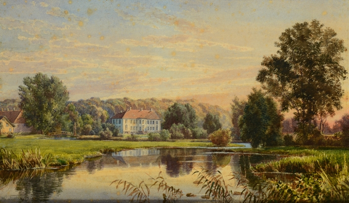Akvarel af Hans Chr. Fischer (1849-1886)