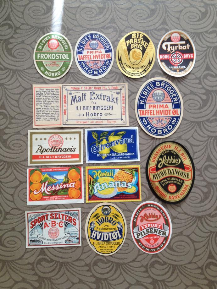 Gamle øl og sodavandsetiketter fra Bies Bryghus