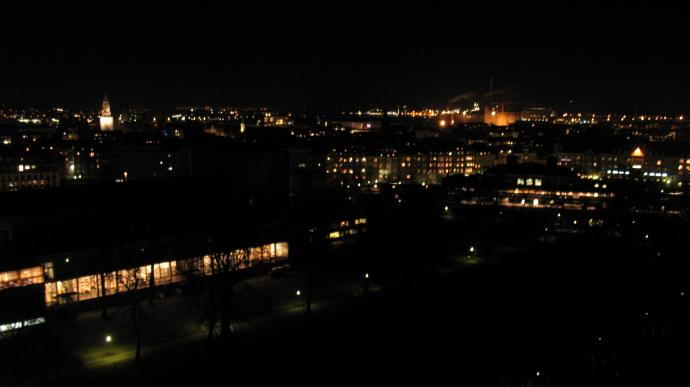 Night view from the hotel. Aalborg at night!