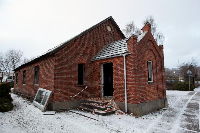 Missionshuset i Ørum under nedrivning