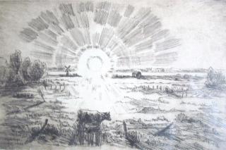 """Radering """"Sol over Røjle Enge""""."""