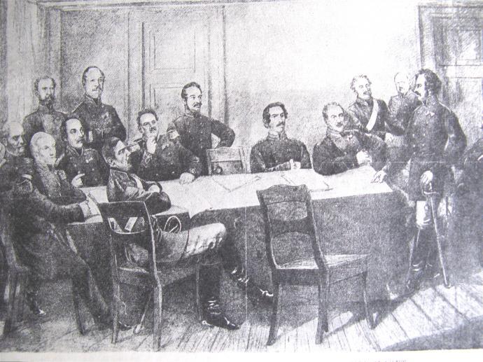 Fra krigsrådet i Vejlby præstegård umiddelbart før udfaldet den 6. juli 1849.