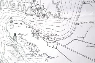 De Meza kortskitse fra 1848 af befæstningsanlæg på begge sider af Lillebælt.