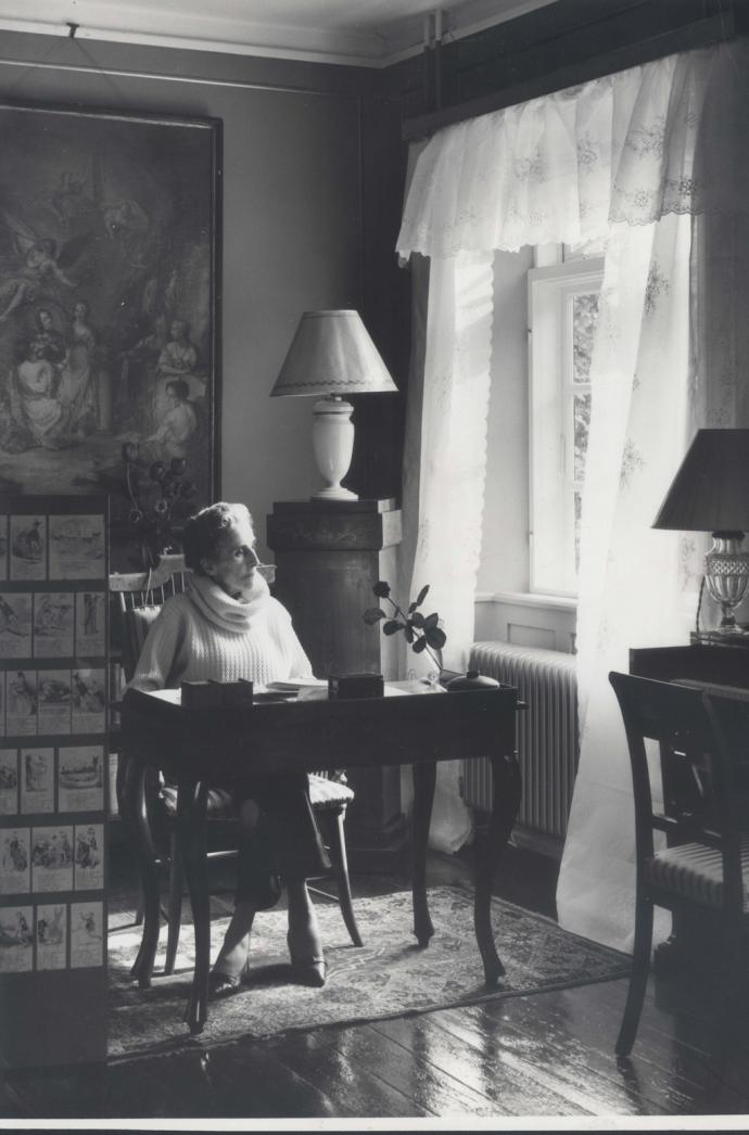 Karen Blixen at her desk at Rungstedlund around 1950