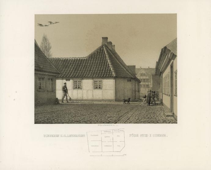 Digteren H.C. Andersens Føde Sted i Odense, litografi af N. Grove.