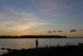 """Solnedgang fra Rønhave """"Strand"""""""