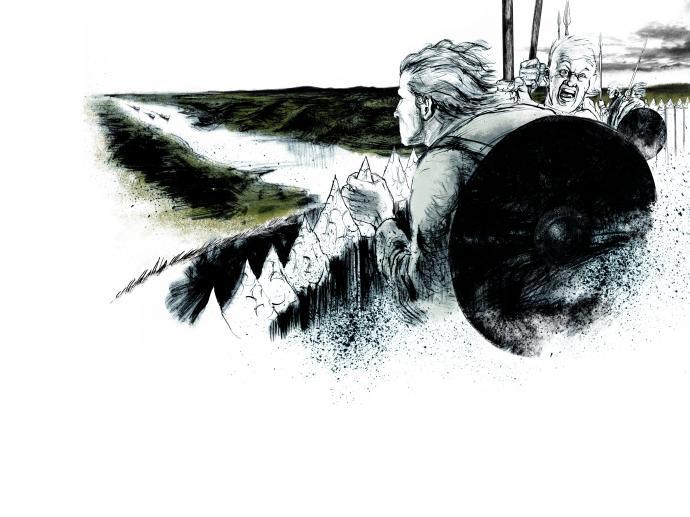 Illustration af vikinger ved Troldborg Ring