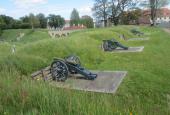 Tre pd. bronzekanoner på Prinsessens Bastion